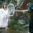 Magical battle between the witch and an angel — 图库照片