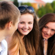 Stock Photo: Portrait of three happy young teenagers