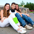 Small group of students sitting on street — Stock Photo