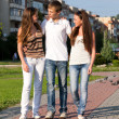 Three happy young teenagers — Stock Photo