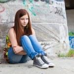 Teenage girls with problems, plenty of copy-space — Stock Photo