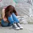 Stock Photo: Teenage girls with problems, plenty of copy-space
