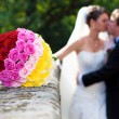 Wedding on a castle with romantic roses bouquet — Stock Photo