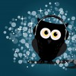 Owl with headphones — Stock Vector