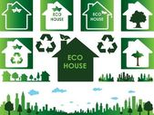 Eco house and town — Stock Vector