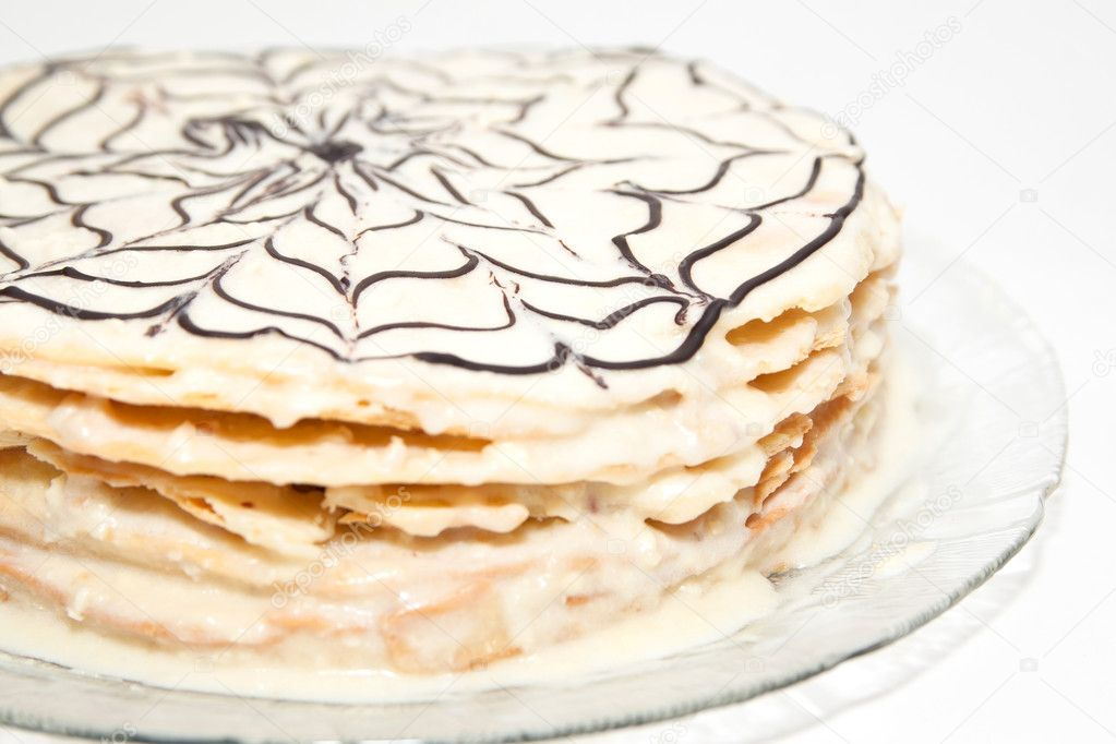 Napoleon cake with vanilla cream decorated with chocolate pattern — Stock Photo #6995262
