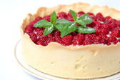 Tart with custard and fresh raspberries — Stock Photo