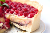 Tart with custard, chocolate and raspberry — Stock Photo