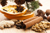 Different kinds of spices, nuts and dried oranges - christmas de — Stock Photo