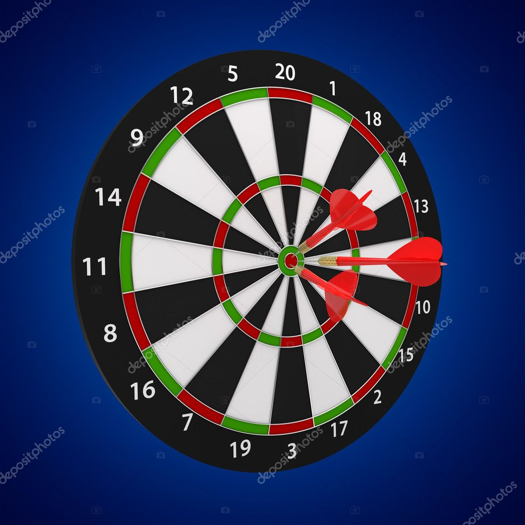 3d illustration of darts board on blue background  Stock Photo #7449636