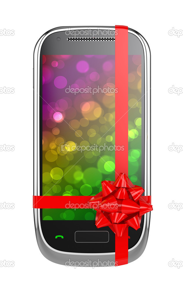 3d render of mobile phone with red ribbon and bow  Stock Photo #7479885