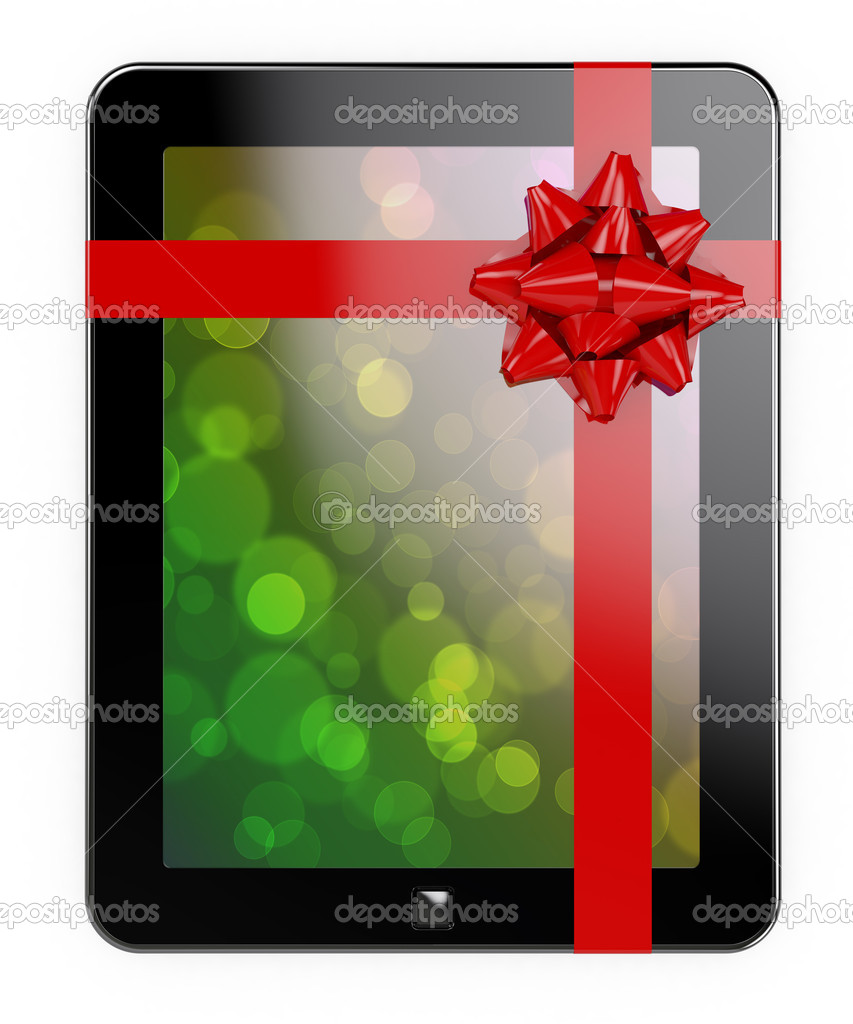 3d render of tablet PC with red ribbon and bow  Stock Photo #7479897
