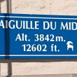 Stock Photo: Aiguille du Midi signboard
