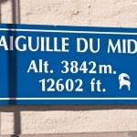 Aiguille du Midi signboard — Stock Photo