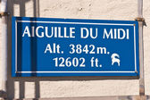 Aiguille du Midi signboard — Stock Photo