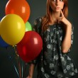 girl with ballons — Photo
