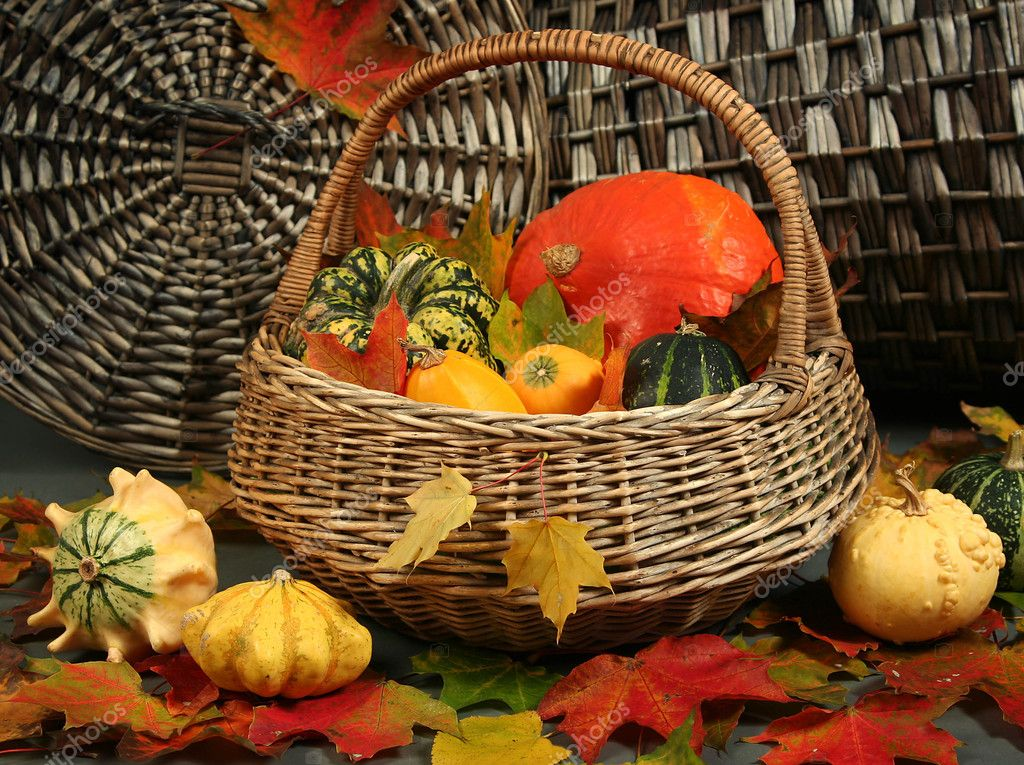 Colorful pumpkins in basket with autumn leaves — Stock Photo #6974064