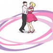 Stock Vector: Vector illustration - dancers on dancefloor