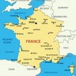 Stockvector : Map of France - vector illustration