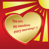 Romantic card with sun and heart - vector — Stock Vector