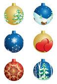 Conjunto de vector bolas decorativas de natal — Vetorial Stock