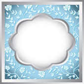 Silver and blue floral frame - vector — Stock Vector
