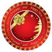 Vector golden and red christmas round cards with decorations — Stock Vector