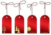 Etichette di natale vettoriali rosso con decorazioni — Vettoriale Stock