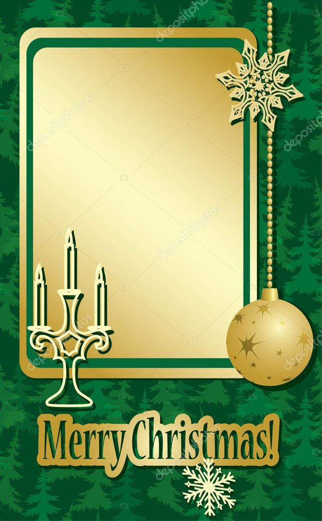 Vector golden and green christmas frame  with decorations — Stock Vector #7722817