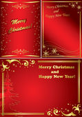 Set of golden and red vector christmas frames — Stock Vector