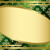 Vector green vintage background with gold decorations — Stock Vector