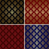 Set of vector vintage patterns with gold tracery — Stock Vector