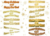 Set of golden vector christmas stickers - merry christmas and ha — Stock Vector