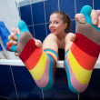 Color striped socks - Stockfoto