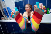 Color striped socks — Stock Photo