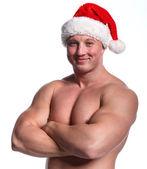 Santa bodybuilder — Stock Photo