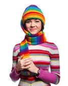 Kobieta w kapeluszu zabawny kolor — Zdjęcie stockowe