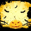 Grungy Halloween background with pumpkins and bats — Stock Vector #7045097