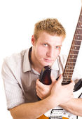 Sexy man with guitar — Stock Photo