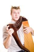 Man with harp — Stock Photo