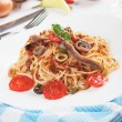 Spaghetti puttanesca — Stock Photo