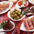 Pickled olives with other antipasto food — Stock Photo #7362358