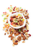 Nuts and dried fruit isolated on white — ストック写真