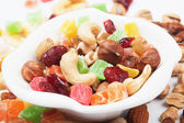 Nuts and dried fruit — Stock Photo