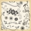 Floral Decorative Elements — Vettoriali Stock