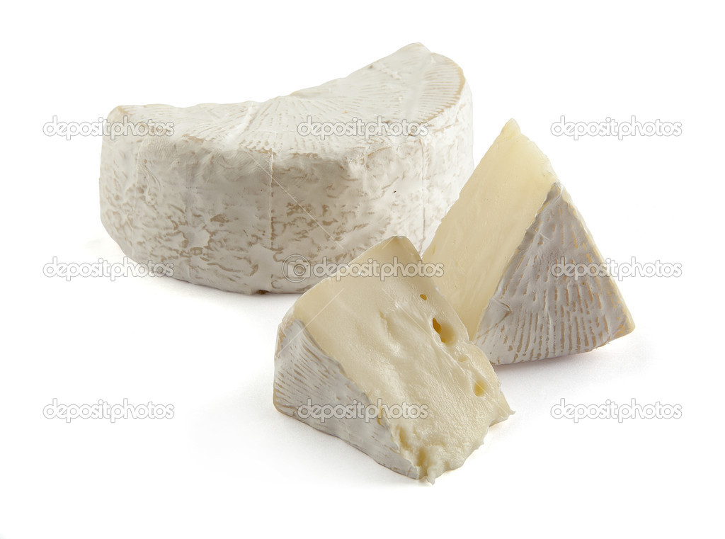 Some pieces of Camembert on the white  Stock Photo #7670709