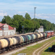 Stock Photo: Railway station and cargo train. Narva. Estonia.