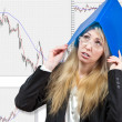 The business woman, financial analyst, thinks of a difficult situation in t — Stock Photo