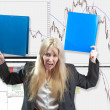 Stock Photo: Upset business womfinancial analyst against falling of courses of