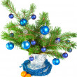 Fir-tree branches with toys — Stock Photo